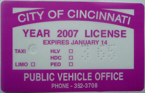 2007 City of Cincinnati License